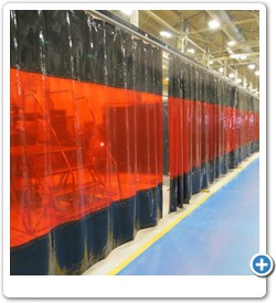 Free Standing, Long Track Weld Curtain Systems.